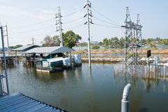 Flood factory in Nava Nakorn Industrial thailand Royalty Free Stock Images