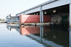Flood factory in Nava Nakorn Industrial thailand Royalty Free Stock Image