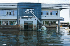 Flood factory in Nava Nakorn Industrial thailand. Bangkok, Thailand - November 25: The plant in Nava Nakorn Industrial area was flooded for 1 month - November 25 royalty free stock image