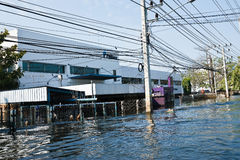Flood factory in Nava Nakorn Industrial thailand. Bangkok, Thailand - November 25: The plant in Nava Nakorn Industrial area was flooded for 1 month - November 25 royalty free stock images