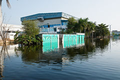Flood factory in Nava Nakorn Industrial thailand Royalty Free Stock Photo