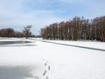 Beautiful winter field near river, Lithuania Stock Image