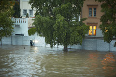 Flood. Fire brigade have been putting up metal flood barriers. Flood in Prague, Czech Republic stock images