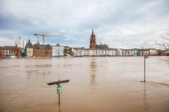 Flood in Frankfurt Stock Photo