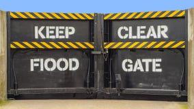 Flood barrier. Flood defence gate safety barrier uk Stock Photo