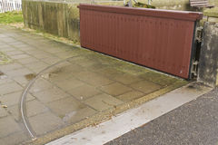 Flood Gate. Small floodgate to protect against high tidal floods. Mudeford Quay, Christchurch, Dorset, England, United Kingdom Stock Photos