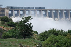 Flood Gates. Water flood gates at the Vaal Dam in South Africa stock images