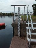 Flood gauge at gunthorpe Stock Photos