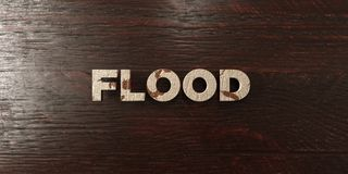 Flood - grungy wooden headline on Maple - 3D rendered royalty free stock image. This image can be used for an online website banner ad or a print postcard royalty free illustration