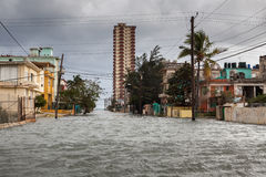 Flood in Havana, Cuba. Royalty Free Stock Photography