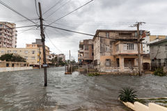 Flood in Havana, Cuba. Royalty Free Stock Photo