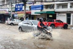 Flood after heavy rain in Sriracha, Chonburi, Thailand Royalty Free Stock Photos