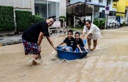 Flood after heavy rain in Sriracha, Chonburi, Thailand Stock Photos
