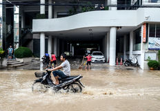 Flood after heavy rain in Sriracha, Chonburi, Thailand Stock Images