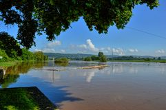Flood high water on the Weser. The river Weser has kicked metre high about the shores and has flooded everything. Here the river in the administrative district royalty free stock images
