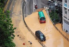 Flood in Hongkong city. Buses flameout in the flood water after rainstorm strike of June 7th, 2008. This photo was taken in hongkong island. The rainfall during stock images