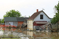 Flood House. Flooded and Ruined Houses in Floods Natural Disaster stock photos