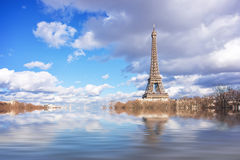 Flood illustration of the river Seine, Eiffel tower, Paris. France stock photos