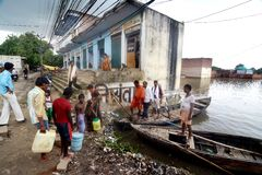 Flood in India Stock Photography