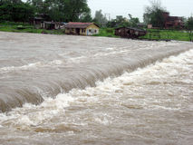 Flood In Indian Village. Common Scene of water flooding in Indian Village Stock Image