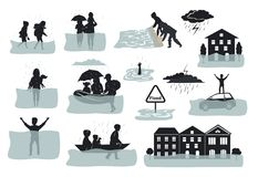 Flood infographic silhouette elements. flooded houses, city, car, people escape from floodwaters leaving houses, homes, rescue fam. Ilies animals, building Stock Photos