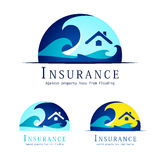 Flood insurance logo. In three colour variants Stock Photo