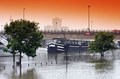 Flood on ivry port Royalty Free Stock Images