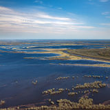 Flood land in spring, top view Stock Photo