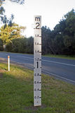 Flood level sign post Royalty Free Stock Photo