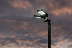 Flood Light in Morning Twilight. With cloudy sky Royalty Free Stock Image