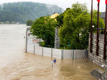 Flood in 2013, linz, austria Royalty Free Stock Photo