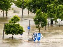 Flood in 2013, linz, austria Stock Images