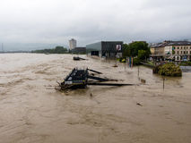 Flood in 2013, linz, austria Stock Photos