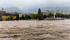 Flood 2013 linz, austria Stock Photo