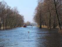 Flood in Lithuania. Road from Silute to Rusne in flood time, Lithuania stock photo