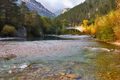 Flood of the mountain river. The mountain river Verdon on the average current in the autumn Stock Photo