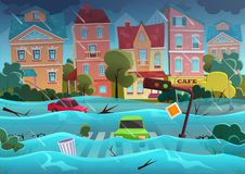 Flood natural disaster in cartoon city concept. City floods and cars with garbage floating in the water. Storm city. Landscape background for poster or card stock illustration