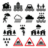 Flood, natural disaster, heavy rain icons set Stock Photos