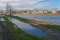 Flood at Neuville sur Saone. LYON, FRANCE, March 10, 2018 : The Saone river Banks at Neuville-sur-saone Royalty Free Stock Photo