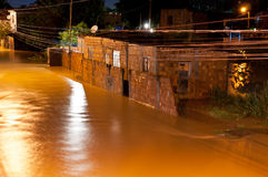 Flood at Night Stock Photo
