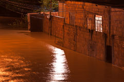 Flood at Night. Flood in poor living area near Rio de Janeiro, Brazil Royalty Free Stock Images