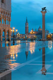 Flood at night on St. Mark´s square in Venice, Italy Stock Photos