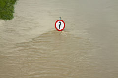 Flood, No Entry Sign over the Water Royalty Free Stock Photo