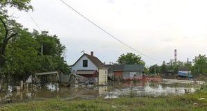 Flood Obrenovac. OBRENOVAC, SERBIA - MAY 24: Flood in Obrenovac on MAY 24, 2013. Flooded and ruined houses near power plant in Obrenovac, Serbia stock image
