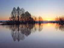 Flood on Oka River Royalty Free Stock Photos
