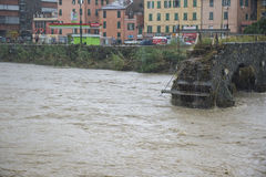 Flood. One moment of the flood which took place in Genoa, October 10, 2014 Stock Photography