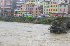 Flood. One moment of the flood which took place in Genoa, October 10, 2014 Stock Photo