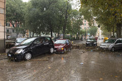 Flood. One moment of the flood which took place in Genoa, October 10, 2014 Royalty Free Stock Photography