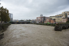 Flood. One moment of the flood which took place in Genoa, October 10, 2014 Royalty Free Stock Images