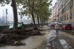 Flood. One moment of the flood which took place in Genoa, October 10, 2014 Stock Image
